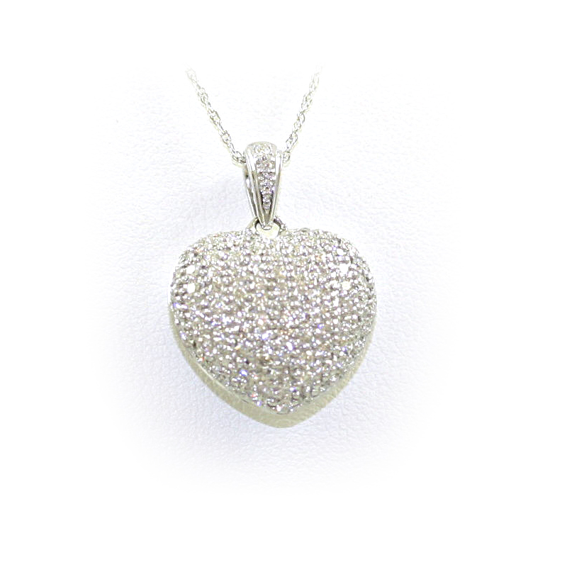 14 Karat White Gold Puffed Diamond Heart Pendant Necklace