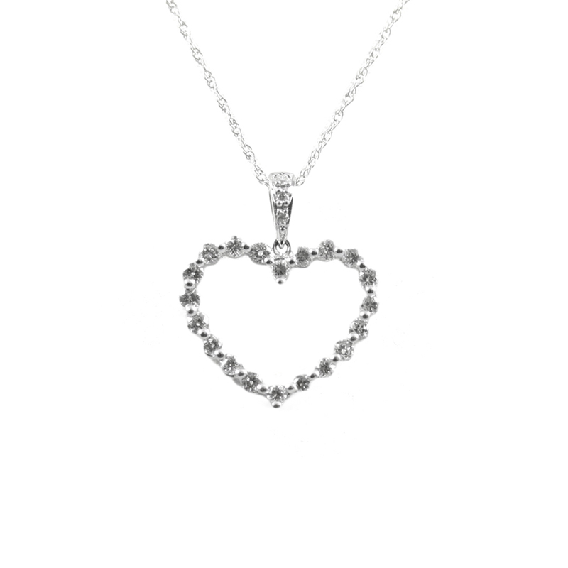 14karat white gold open heart diamond pendant.