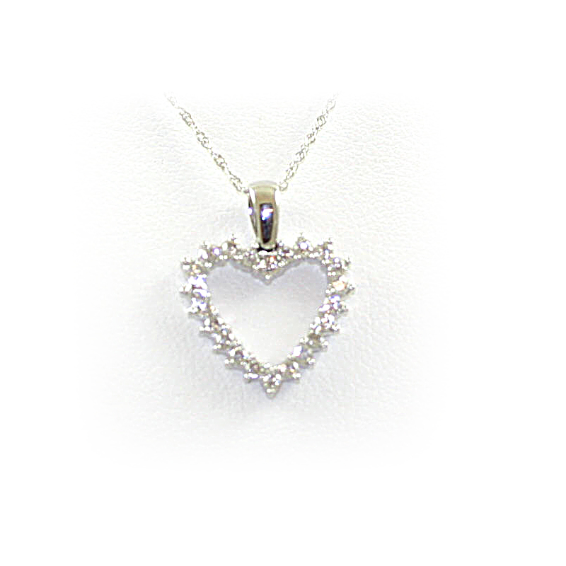 14 Karat White Gold Open Heart Diamond Pendant Necklace