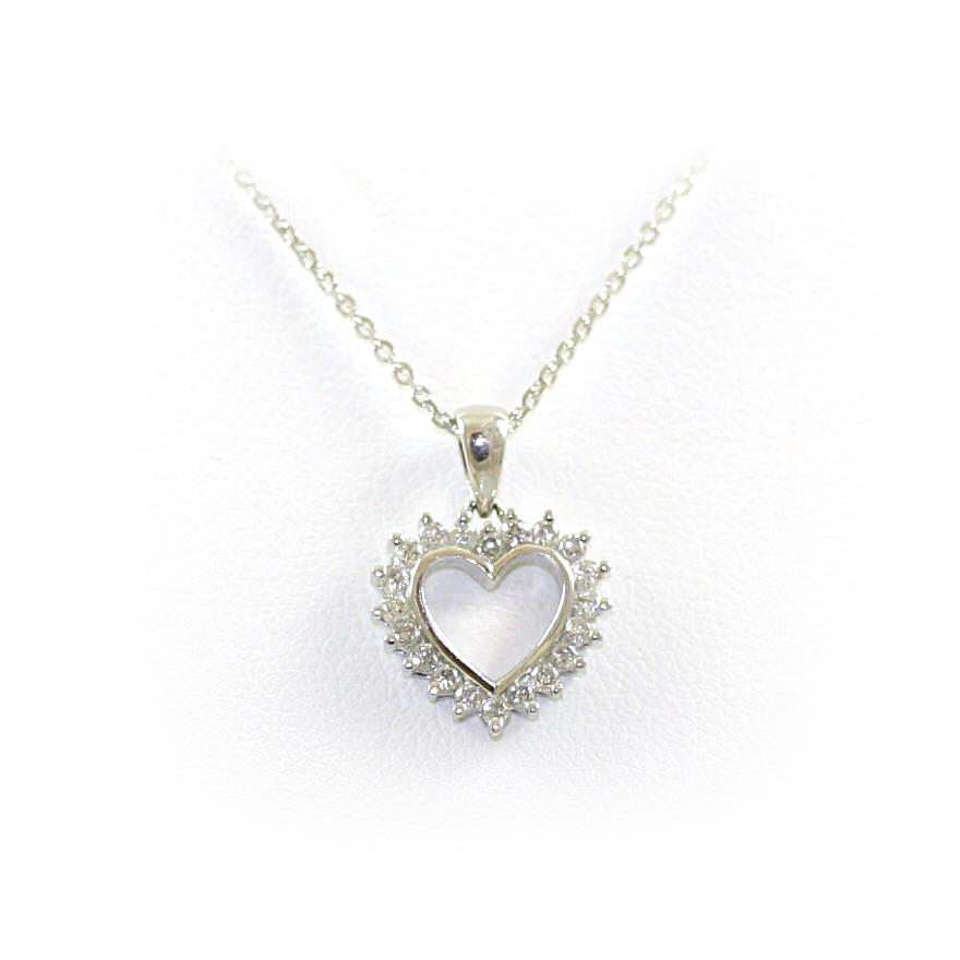18 Karat White Gold Open Heart Diamond Pendant Necklace