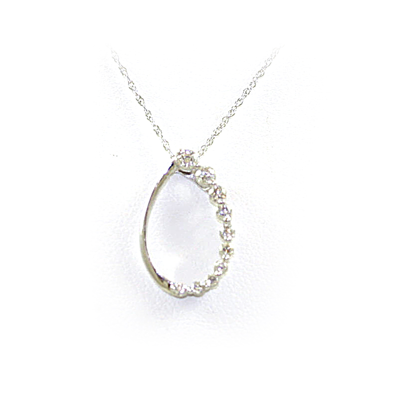 14 Karat White Gold Oval Diamond Pendant Necklace