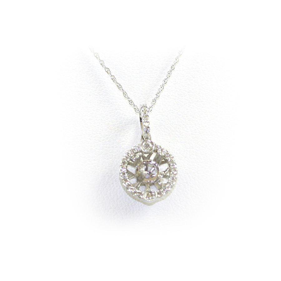 14 Karat White Gold Round Diamond Semi-Mount Necklace
