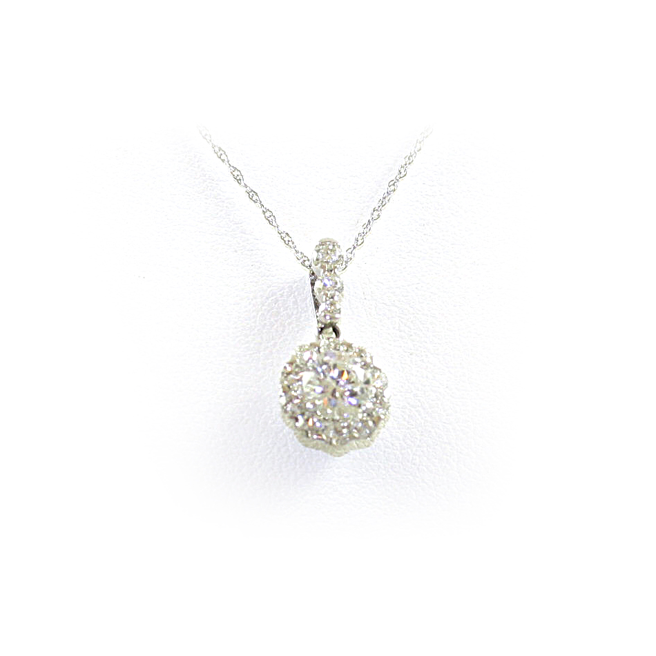 14 Karat White Gold Diamond Semi-Mount Necklace