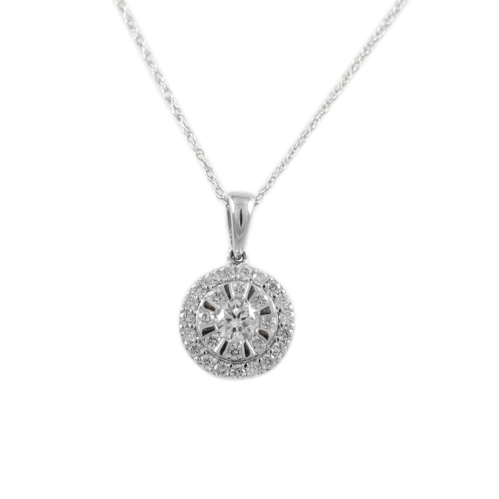 14 Karat White Gold Round Circle Pendant Necklace