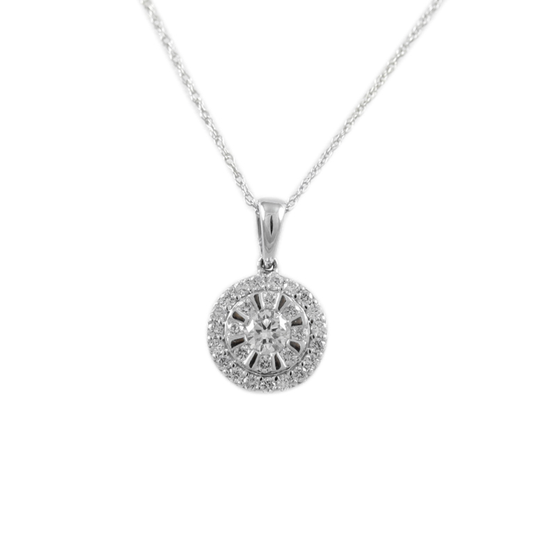 14karat white gold diamond circle pendant.
