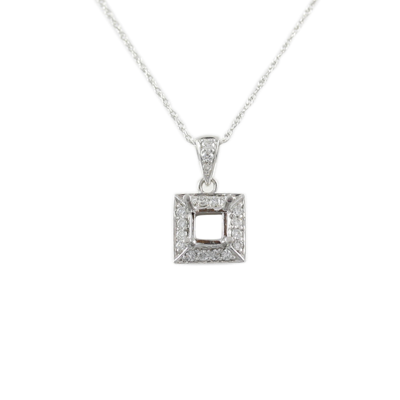14karat white gold square diamond pendant.