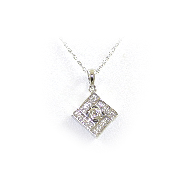 14 Karat White Gold Square Diamond Pendant Necklace