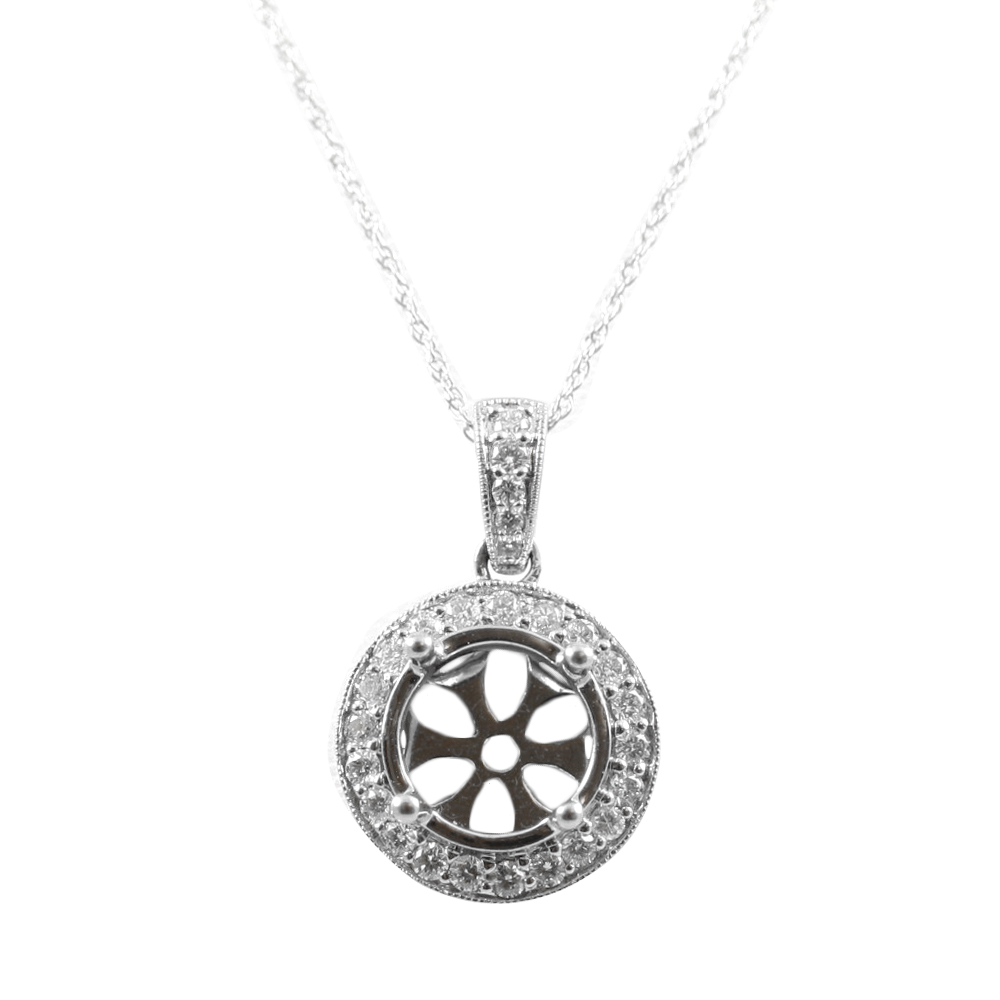 14 Karat White Gold Round Diamond Semi-Mount Pendant Necklace
