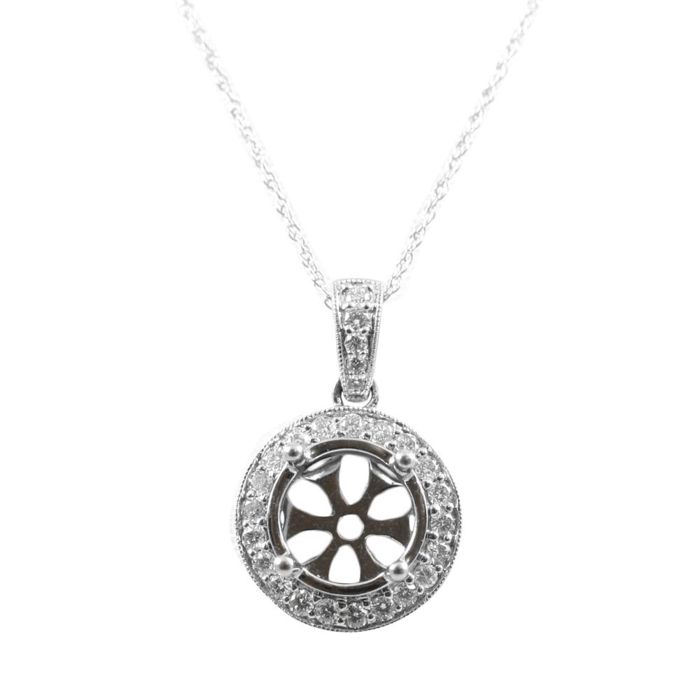 14 Karat White Gold Round Diamond Semi-Mount Pendant Necklace