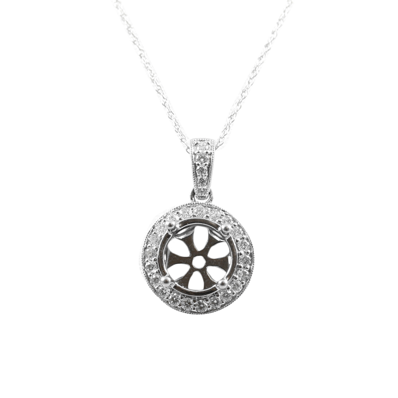 14karat white gold round diamond pendant.