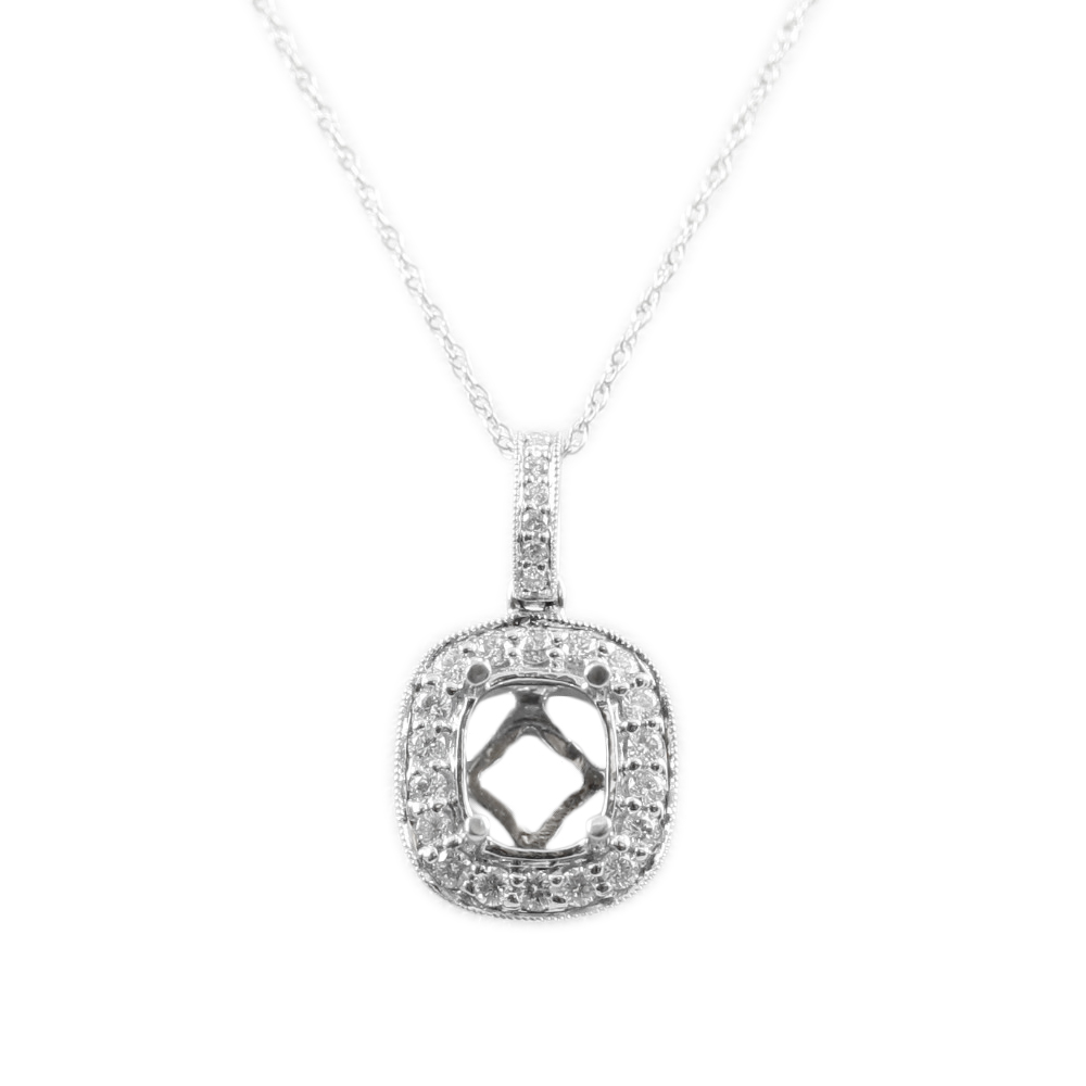 14 Karat White Gold Oval Semi-Mount Diamond Pendant Necklace