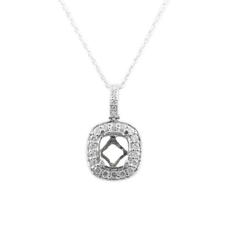 14karat white gold oval diamond pendant.
