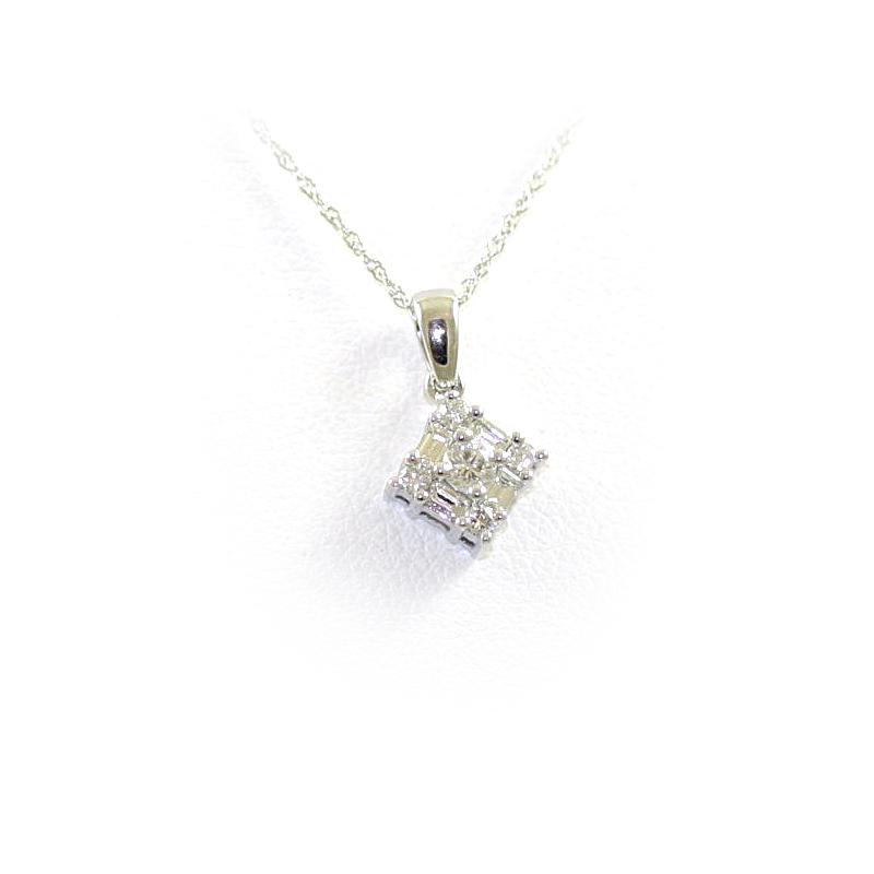 14 Karat White Gold Square Diamond Pendant Necklace