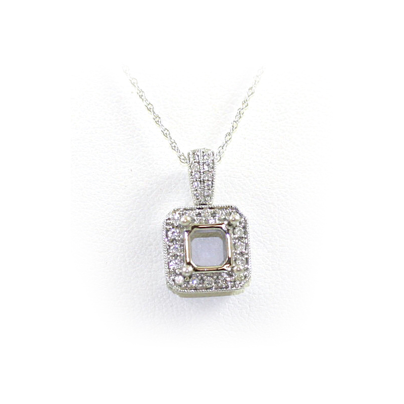 14 Karat White Gold Square Diamond Semi-Mount Pendant Necklace