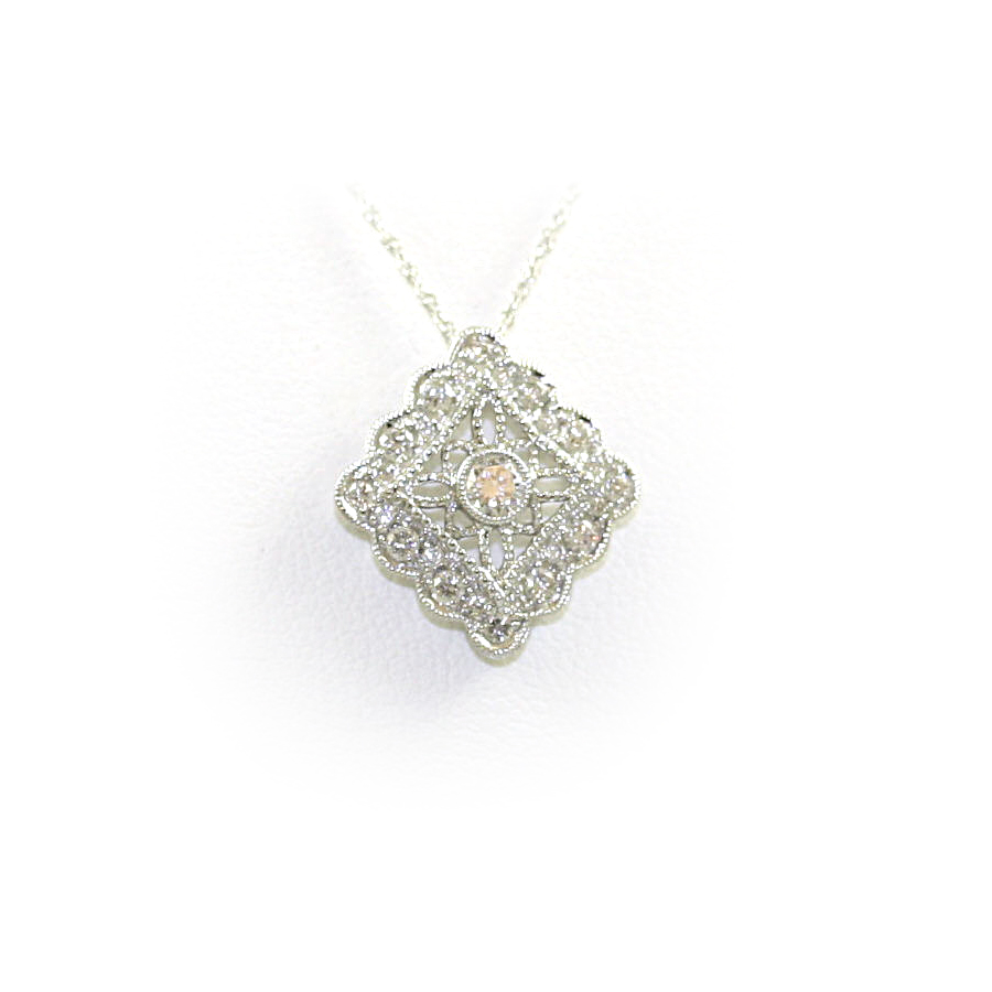 14 Karat White Gold Square Filigree Diamond Pendant Necklace