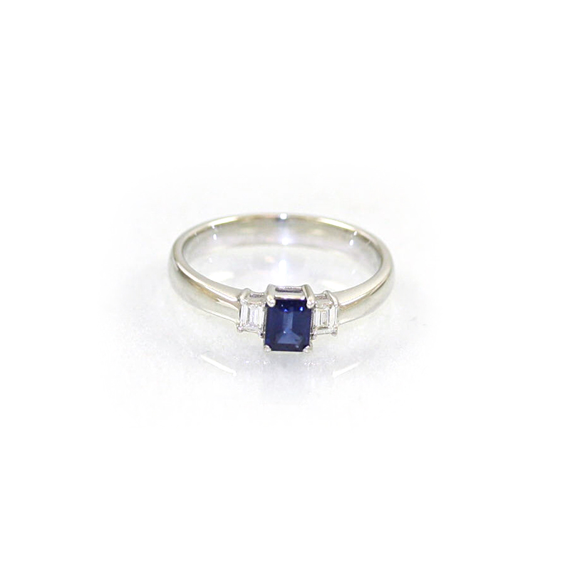 18 Karat White Gold Sapphire and Diamond Ring
