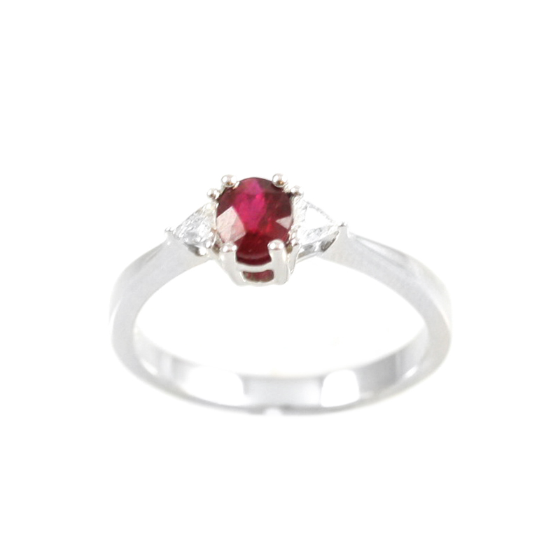 14 karat white gold ruby and diamond ring.