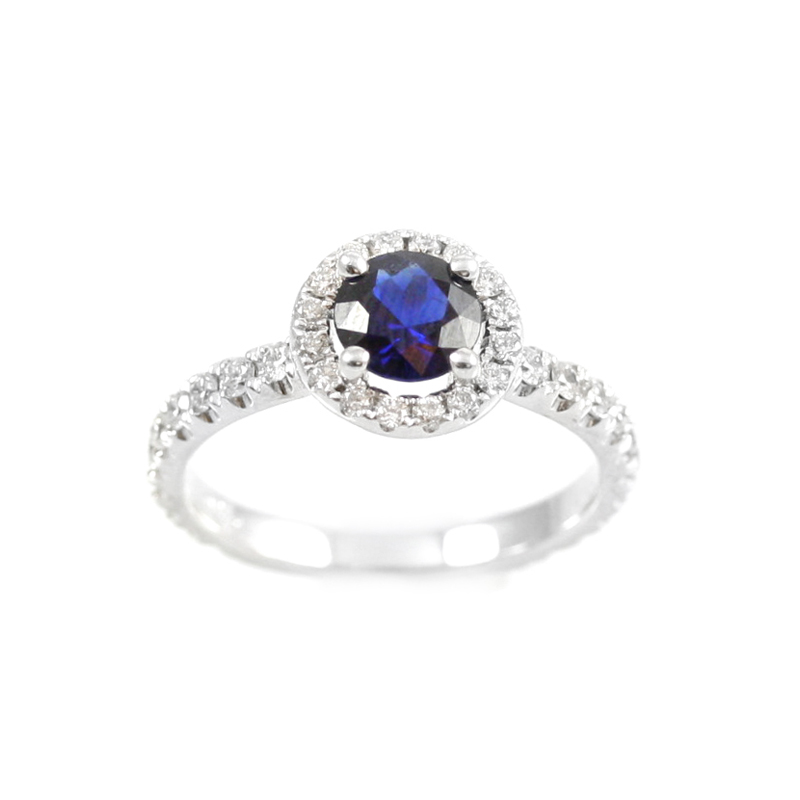 14 Karat white gold sapphire and diamond ring.
