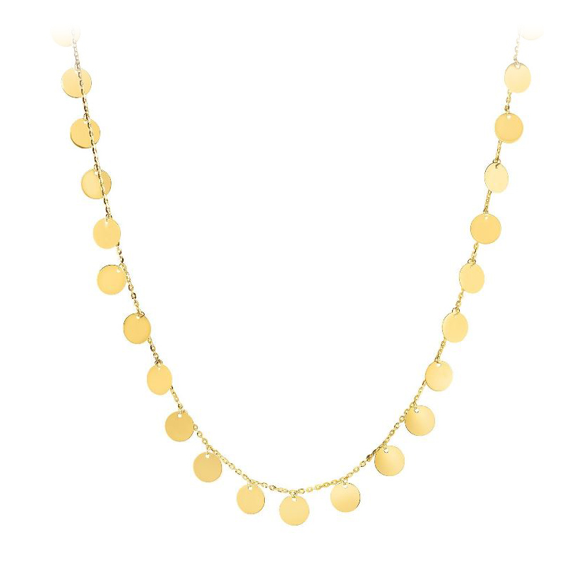 Royal Chain 14 Karat Yellow Gold 7mm Shiny Disc Station Necklace