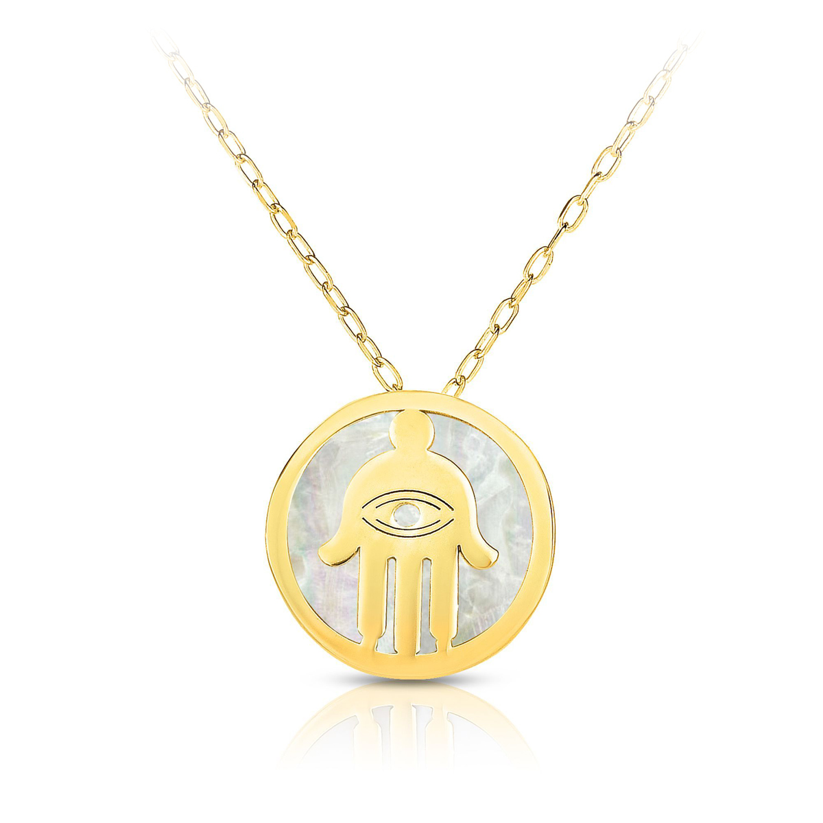 Royal Chain 14 Karat Yellow Gold Mother of Pearl Hamsa Pendant Necklace