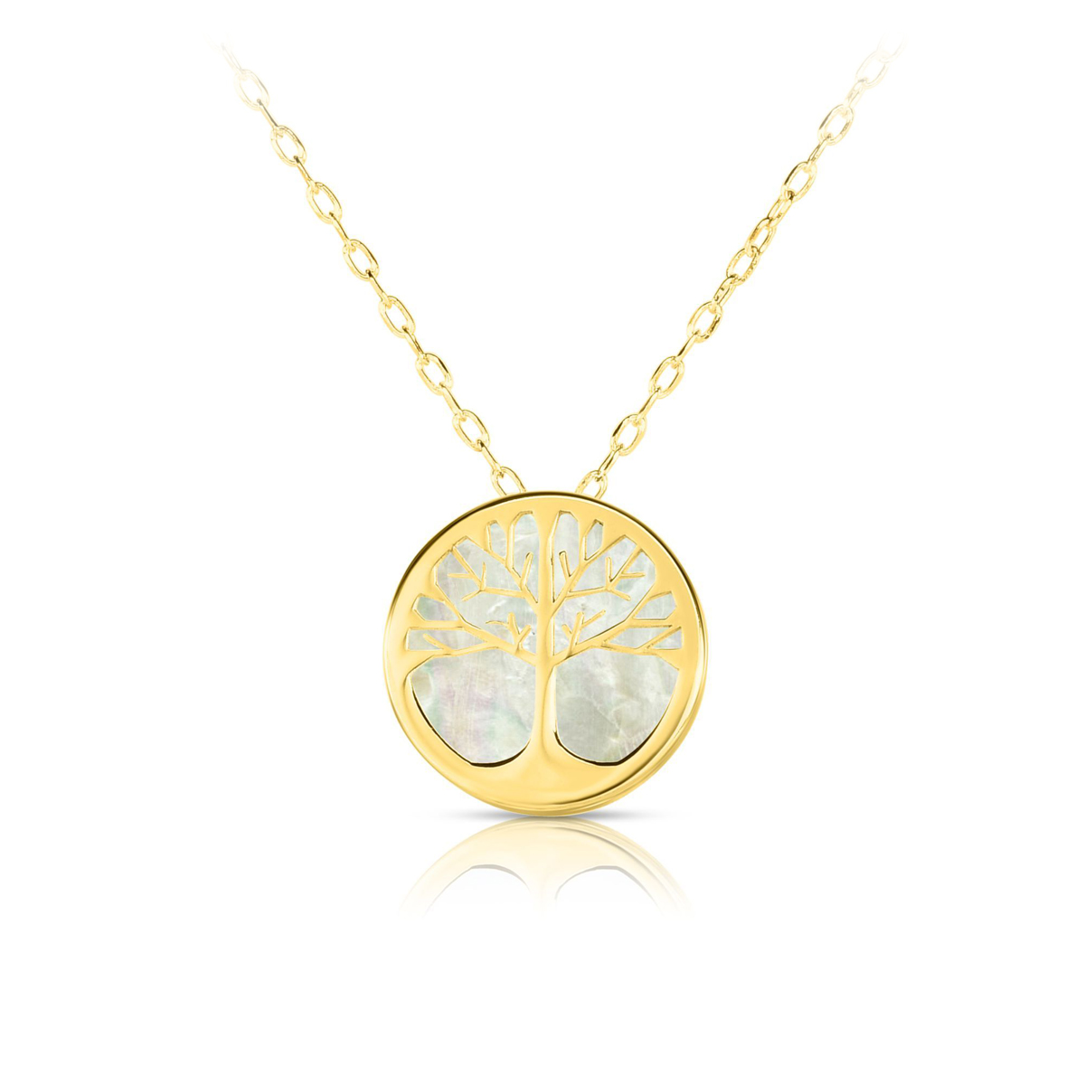 Royal Chain 14 Karat Yellow Gold Mother of Pearl Tree of Life Pendant Necklace