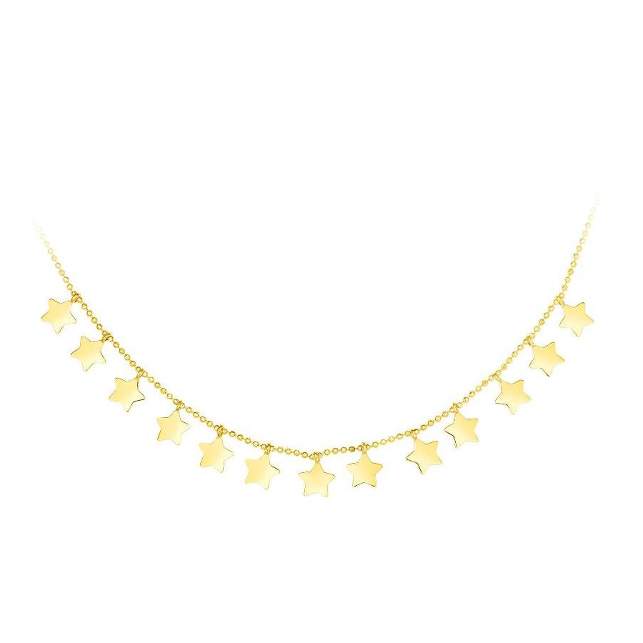 Royal Chain 14 Karat Yellow Gold Dangle Stars necklace