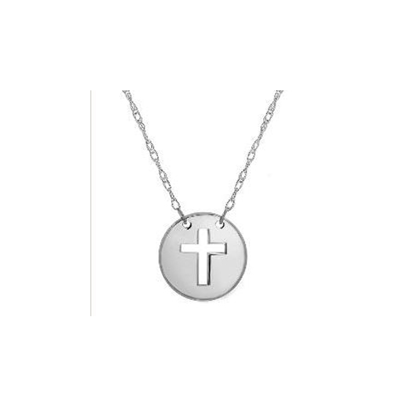 14 Karat white gold mini disc with cut out cross necklace suspended by a thin rope chain measuring 18