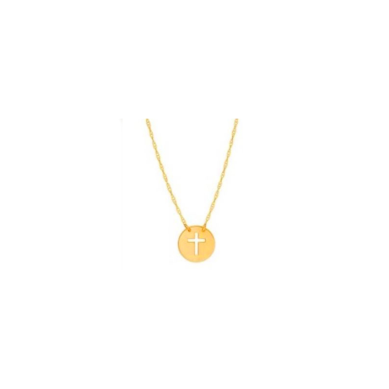 14 Karat yellow gold mini disc with cut out cross necklace suspended by a thin rope chain measuring 18