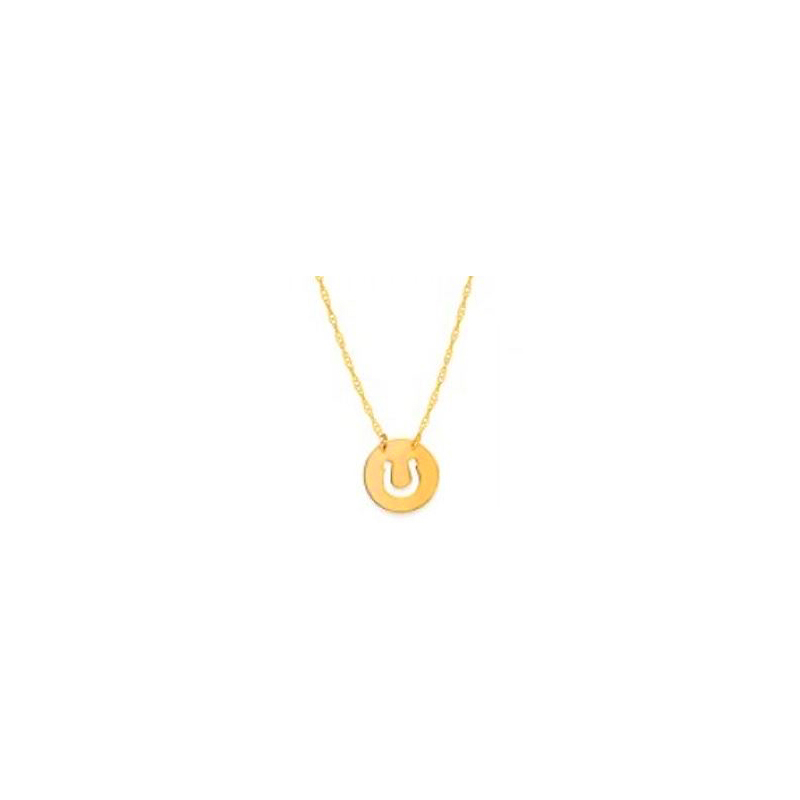14 Karat yellow gold mini disc with cut horse shoe necklace suspended by a thin rope chain measuring 18