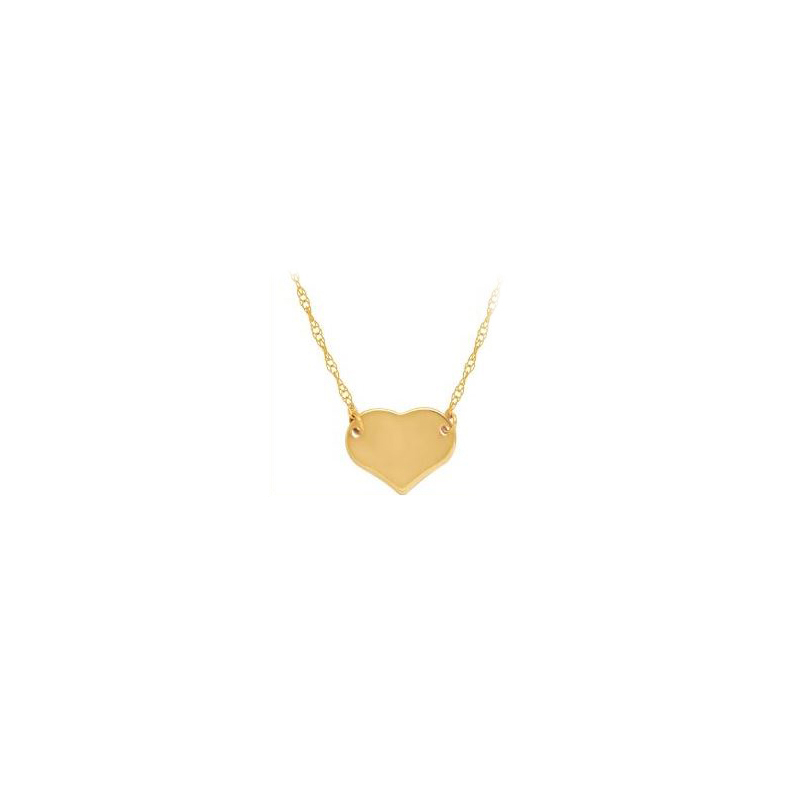 14 Karat yellow gold mini heart necklace suspended by a thin rope chain measuring 18