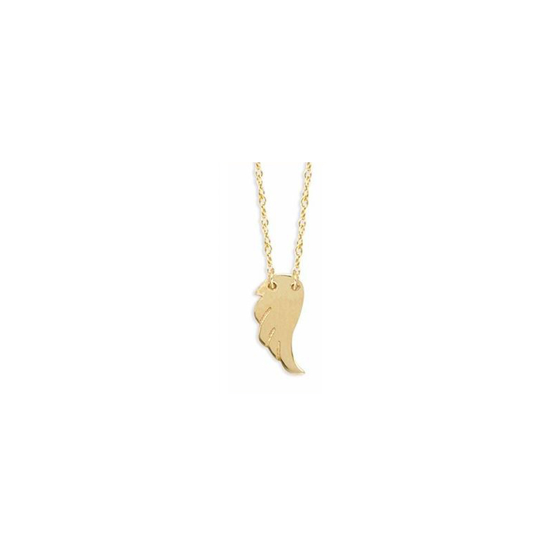 14 Karat yellow gold mini wing necklace suspended by a thin rope chain measuring 18