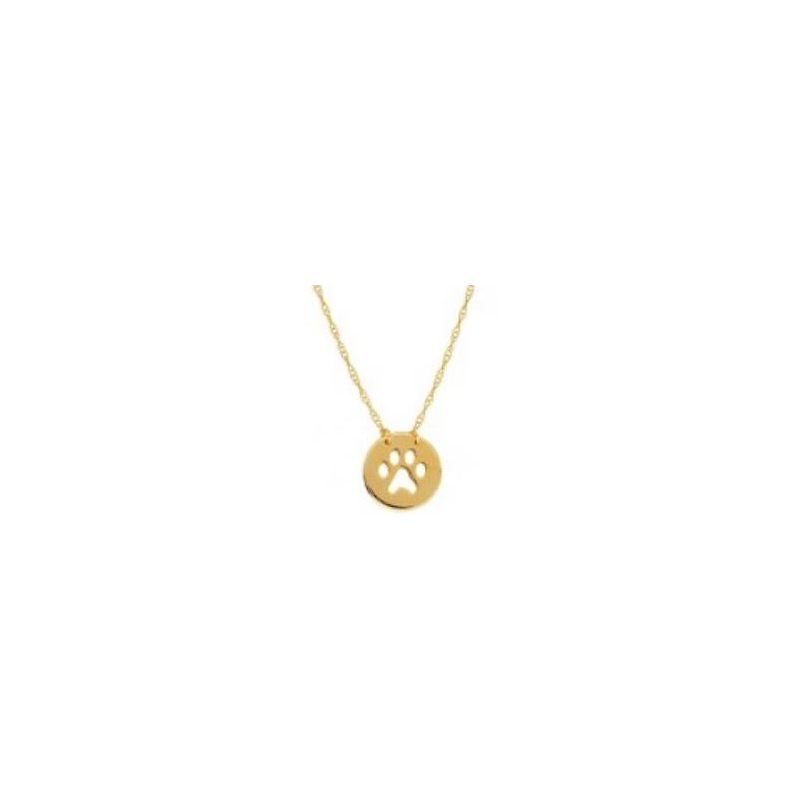 14 Karat yellow gold mini disc with cut out paw necklace suspended by a thin rope chain measuring 18