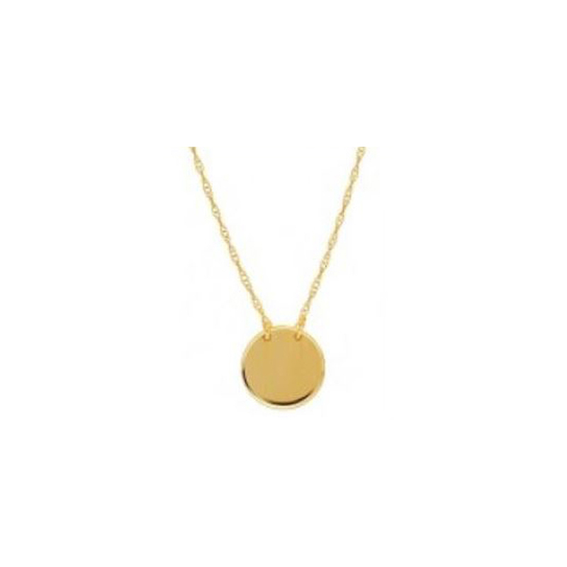 14 Karat yellow  gold mini disc necklace suspended by a thin rope chain measuring 18