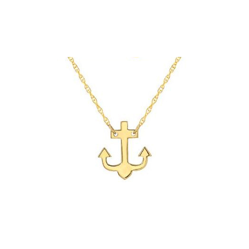 14 Karat yellow  gold mini anchor necklace suspended by a thin rope chain measuring 18