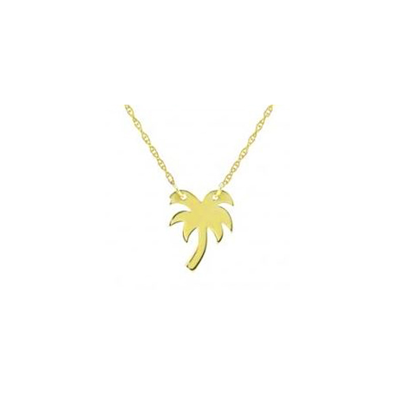 14 Karat yellow  gold mini palm tree necklace suspended by a thin rope chain measuring 18