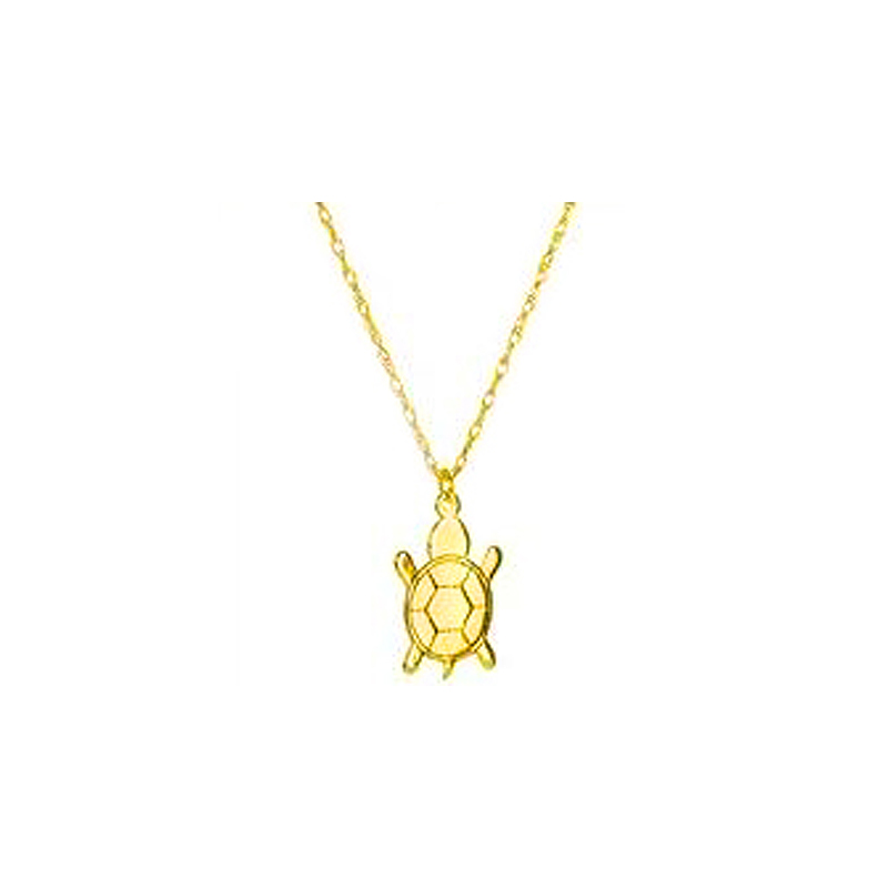 14 Karat yellow gold mini turtle necklace suspended by a thin rope chain measuring 18