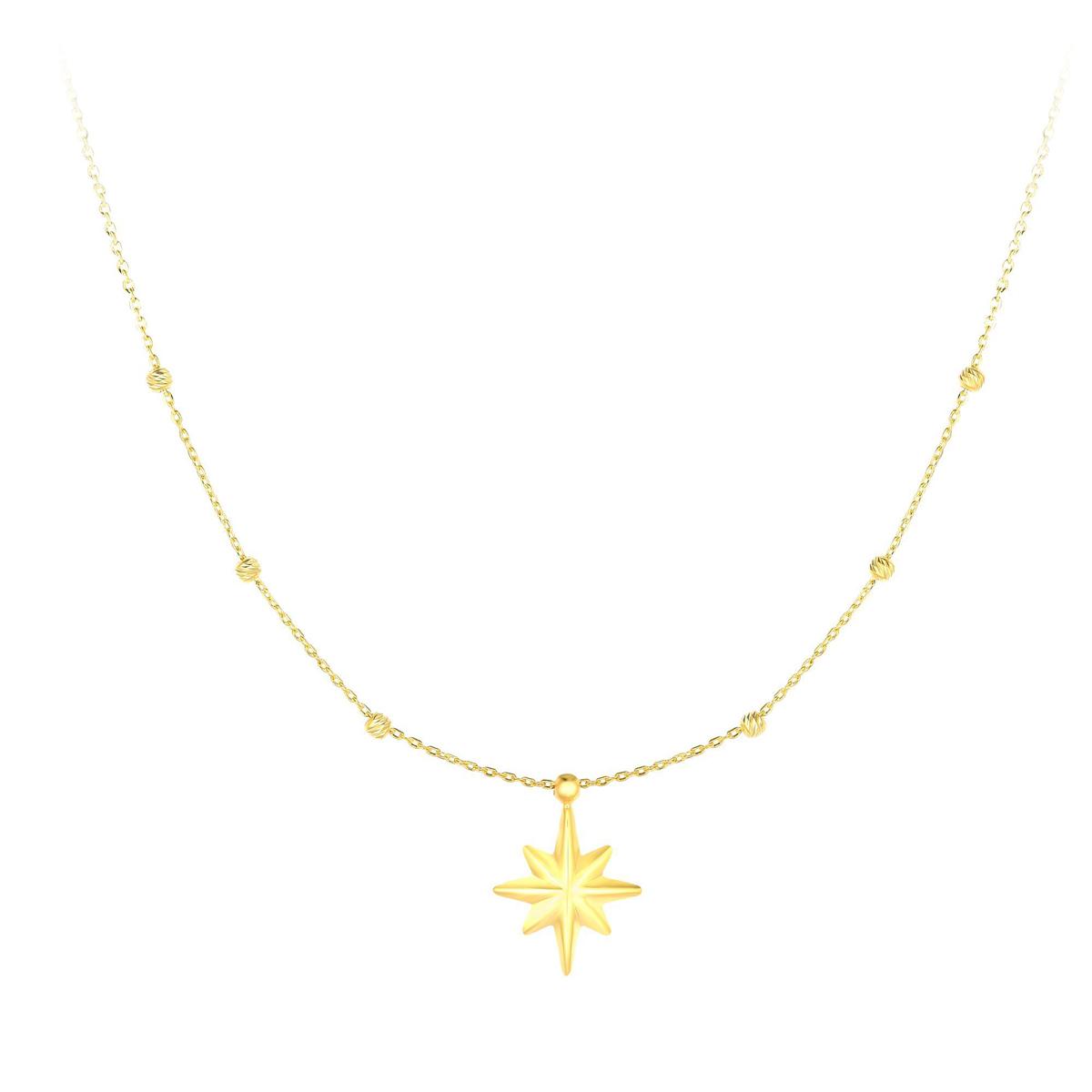 Royal Chain 14 Karat Yellow Gold Star Necklace