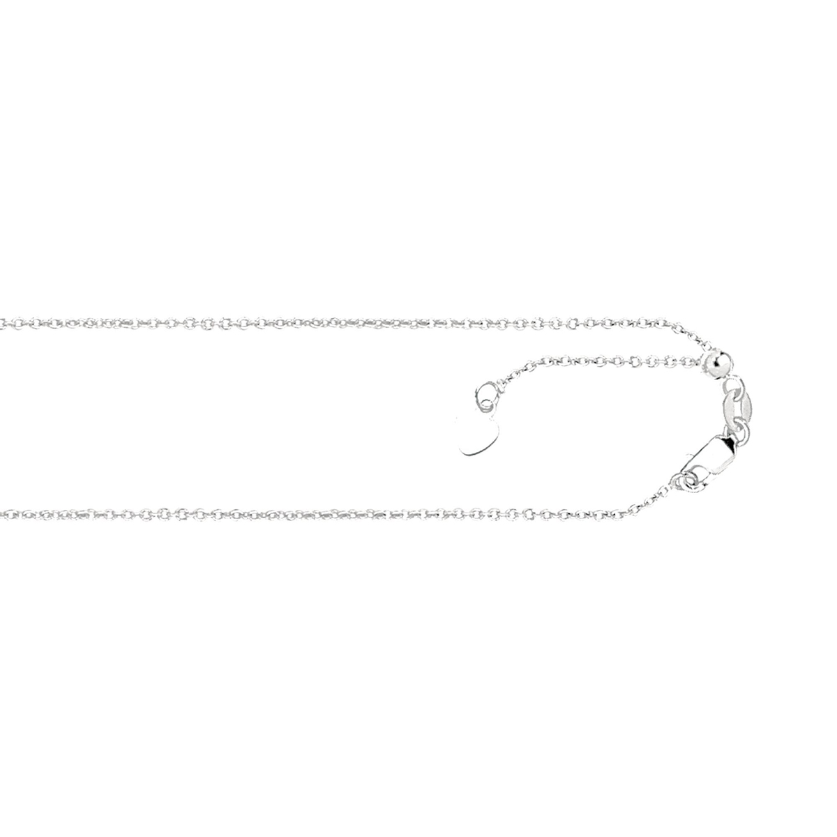 Royal Chain 14 Karat White Gold 1mm Adjustable Cable Chain