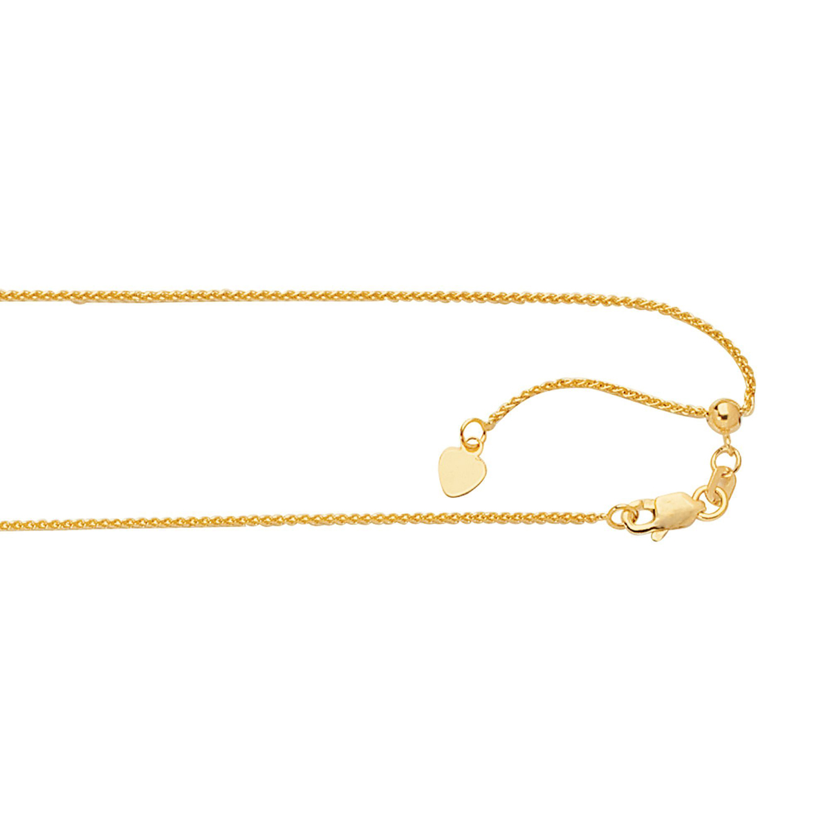 Royal Chain 14 Karat Yellow Gold 1mm Wheat Chain Necklae