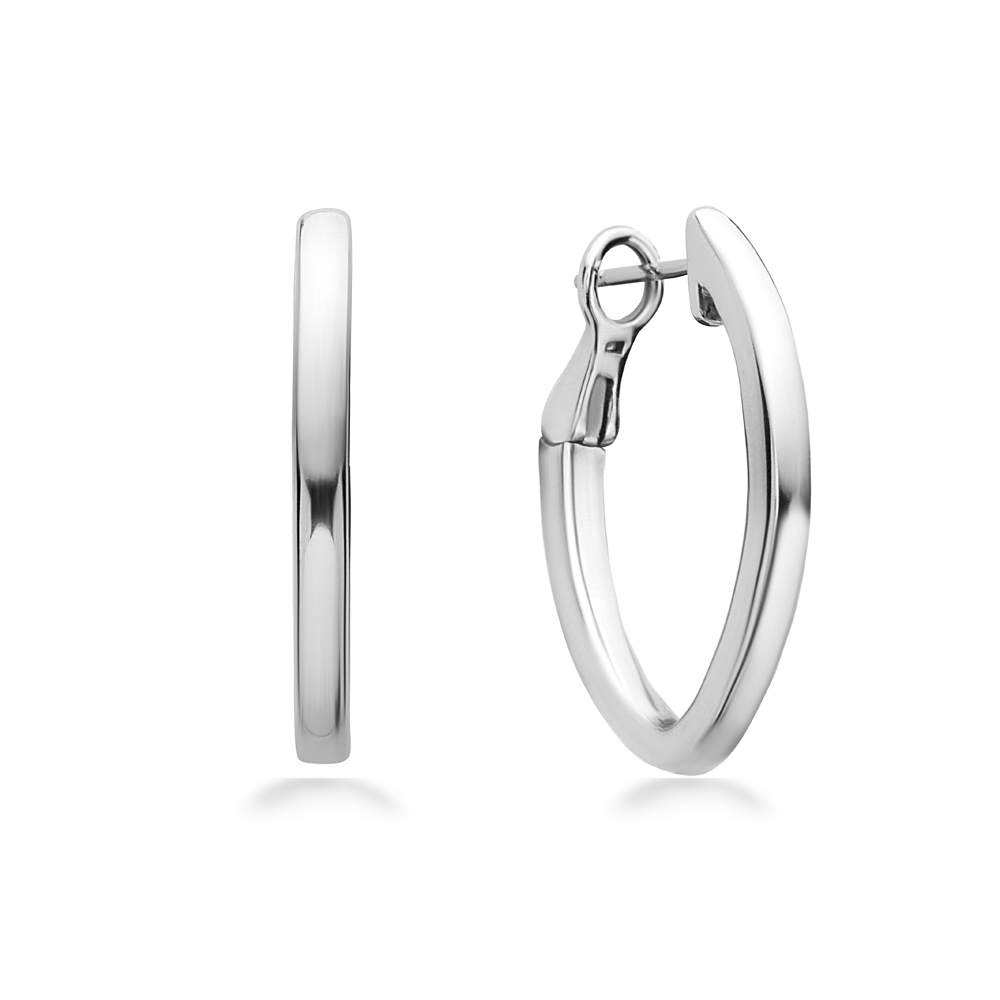 Charles Krypell Sterling Silver/14 Karat White Gold V Hoop Earrings