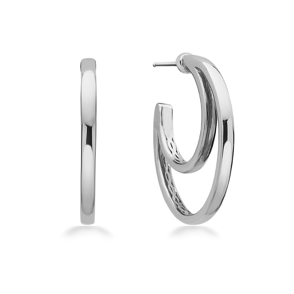 Charles Krypell Sterling Silver/14 Karat White Gold Double Hoop Earrings