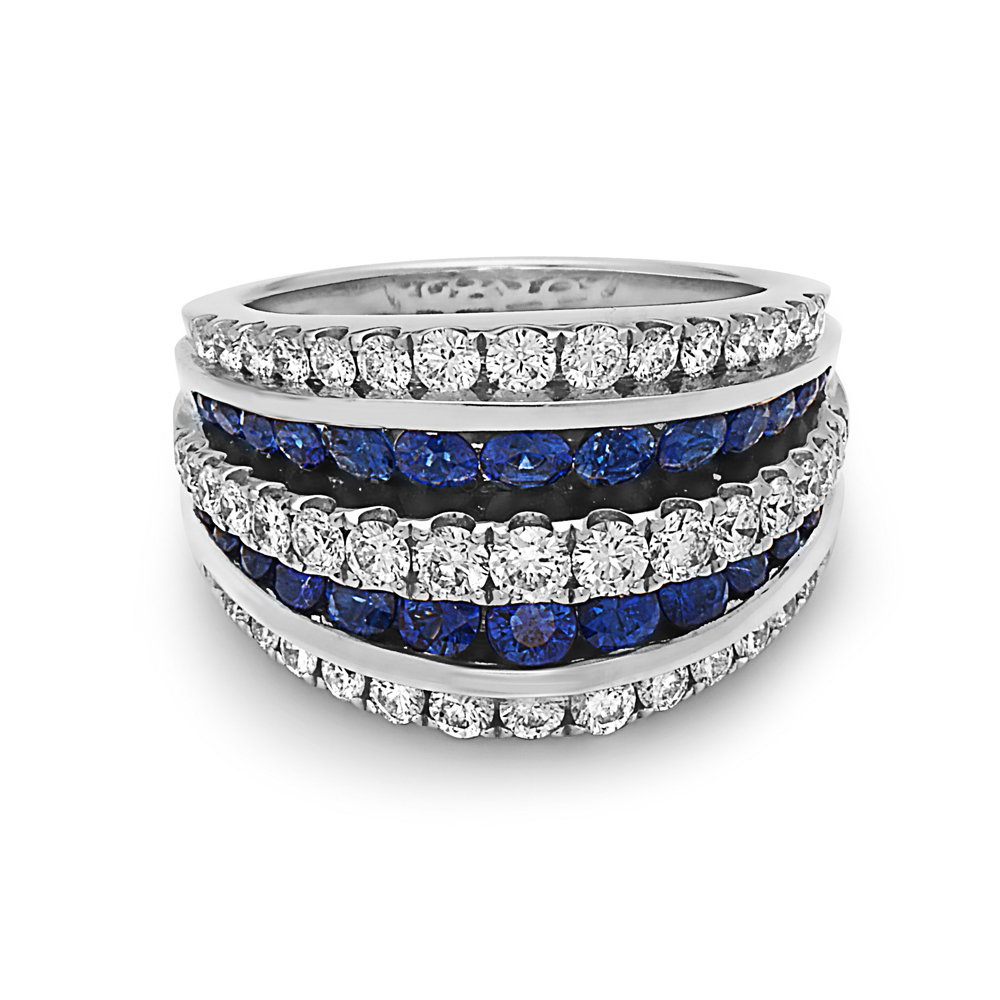 Charles Krypell 18 Karat White Gold Blue Sapphire and Diamond Ring