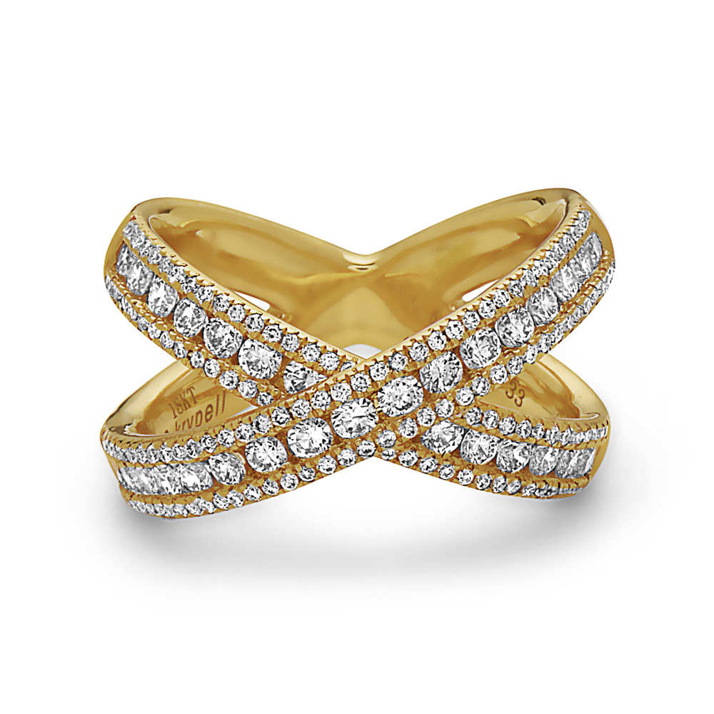 Charles Krypell 18 Karat Yellow Gold Diamond X Ring