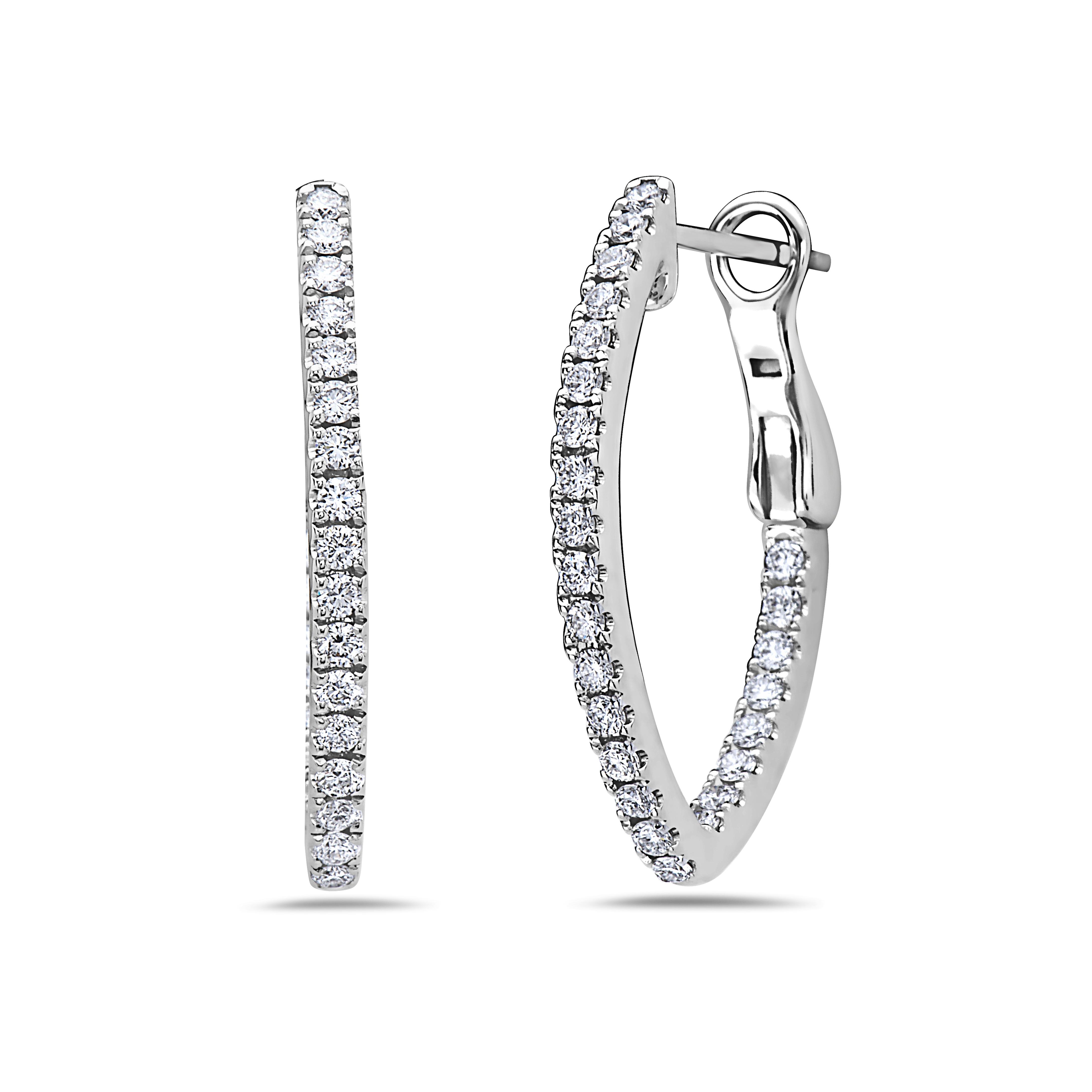 Charles Krypell 18 Karat White Gold Diamond In/Out V Hoop Earrings