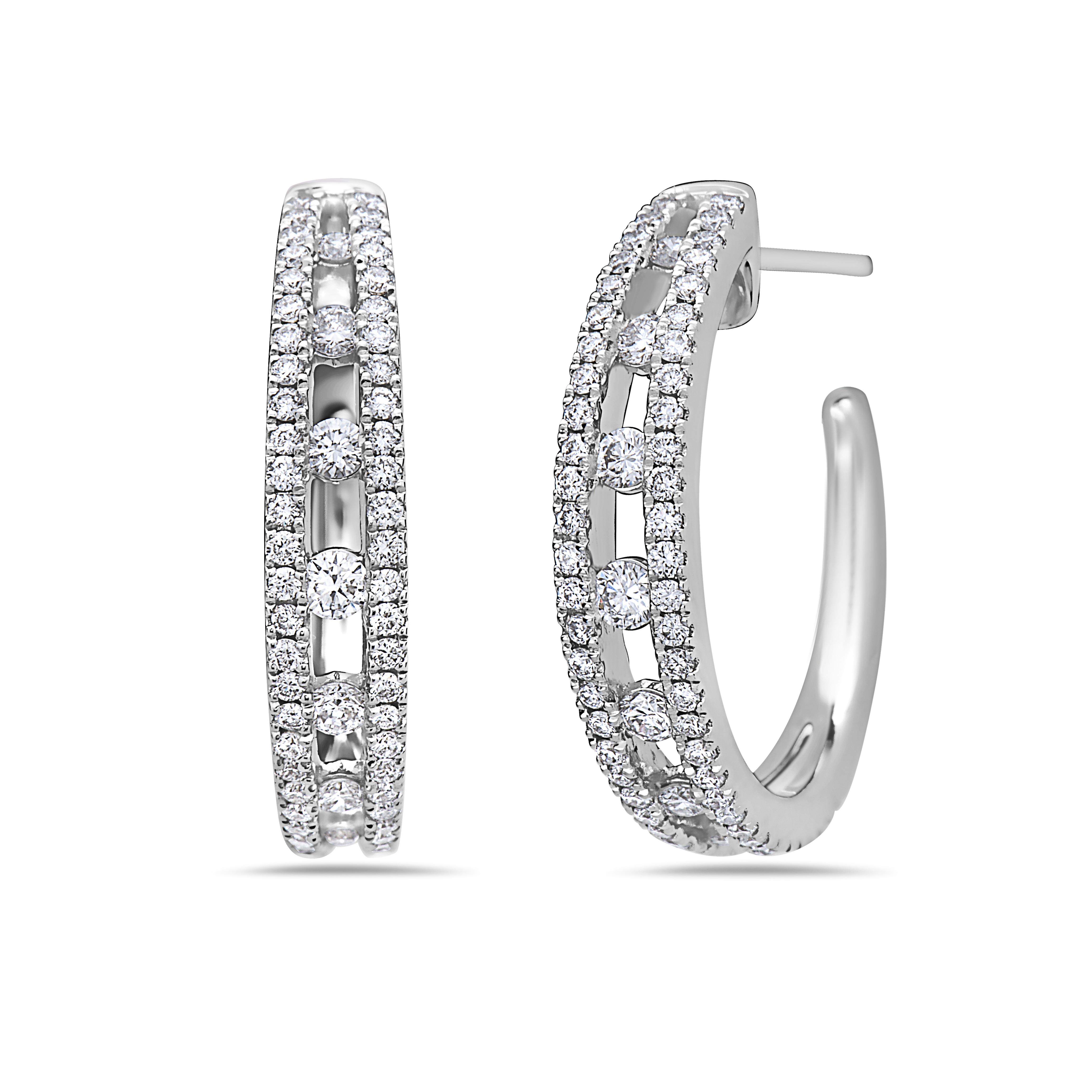 Charles Krypell 18 Karat White Gold Diamond Single Row Earrings