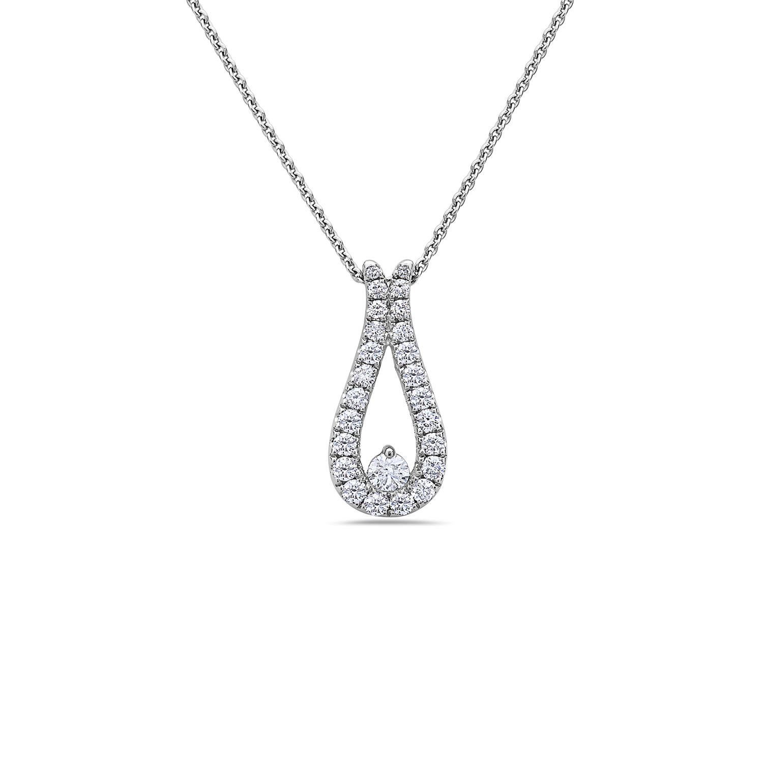 Charles Krypell 18 Karat White Gold Diamond Teardrop Pendant