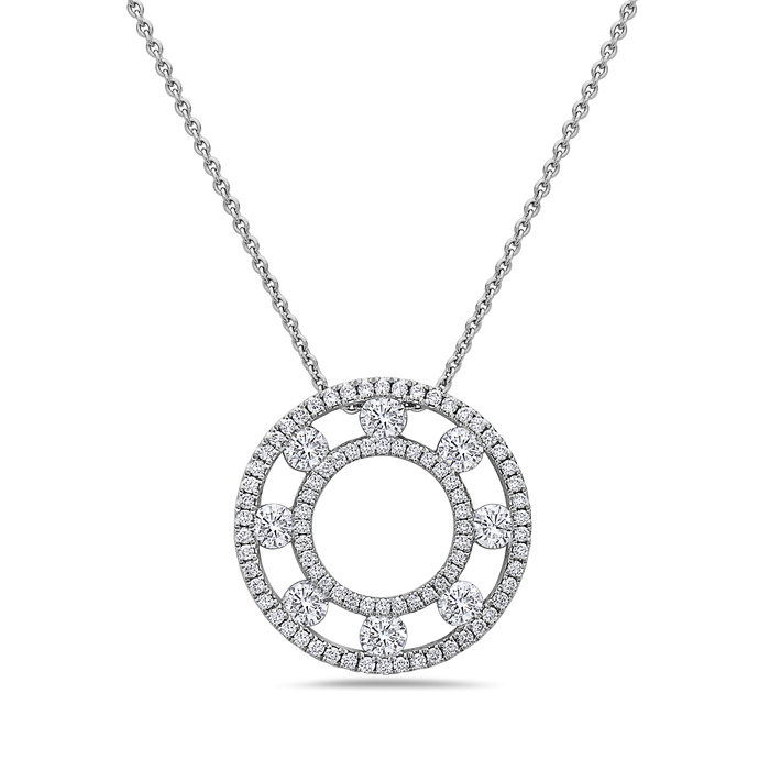 Charles Krypell 18 Karat White Gold Diamond Circle Pendant