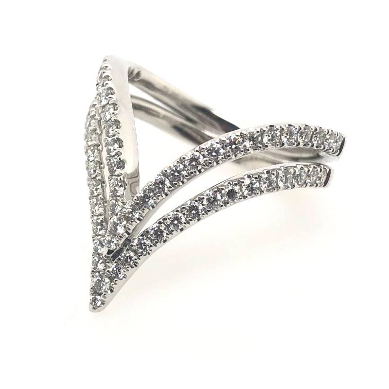 Charles Krypell 18 Karat White Gold Diamond Chevron Ring