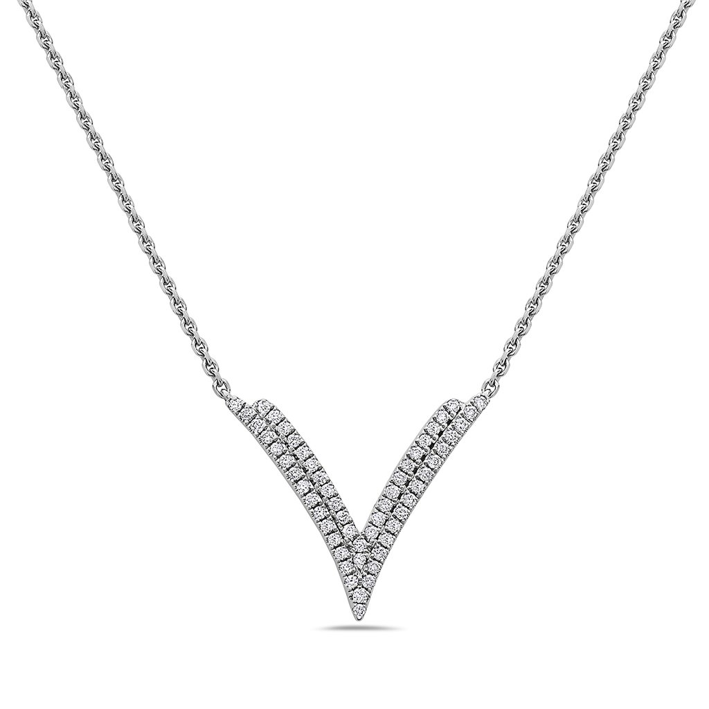 Charles Krypell 18 Karat White Gold Diamond Chevron Pendant