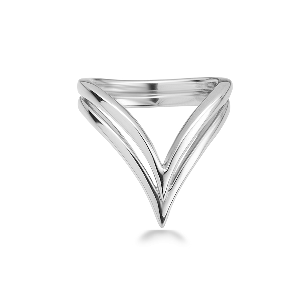 Charles Krypell Sterling Silver Double V Ring